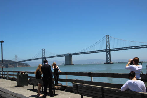 bay bridge and people
