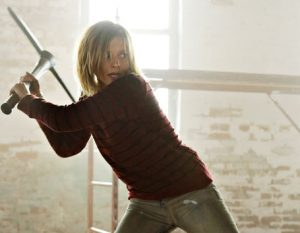 Tess (Liz Brochere) confronts her demons -- with a pick