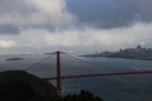 Golden Gate with both bridges, on a rainy day.