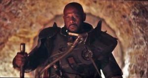 """Jyn, you never call, you never text, you never write..."" Forest Whitaker as bad-attitude rebel Gerrera."