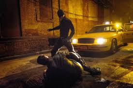 "Because nothing says ""Justice"" like beating up some random guy in an alley. Daredevil fighting"