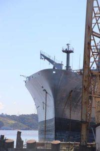 Ship docked at Mare Island.