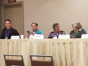 75% of the Medieval POC panel: (L to R) Remy Nakamura, Bradford Lyau, Kerry Ellis, Katharine Kerr