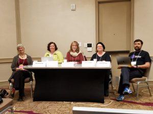 (L to R) Delia Sherman, Laurel Amberdine (Lightspeed); Laura Blackwell, freelance, Sarah Stegall, freelance, Jed Hartman, Strange Horizons