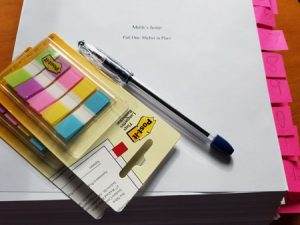 Revision Tools; Manuscript, sticky notes, ink pen