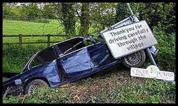 With a little care and preparation you can avoid this result. [Wrecked car.]
