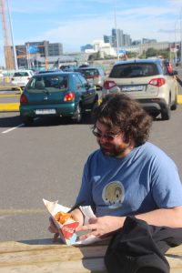 Daniel samples food-truck fish and chips.