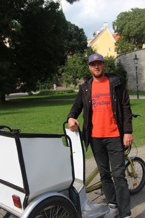 Meet Sandor and his pedicab, tour guide and cabbie in Tallinn, Estonia.