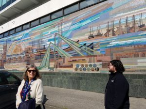 Mosaic of Reykjavik, Linda and Daniel in foreground.