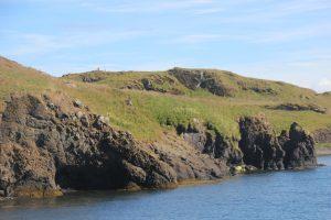 Videy Island shore with sea cave.