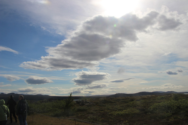 Skyscape on the route to Thingvelle and the continental rift.