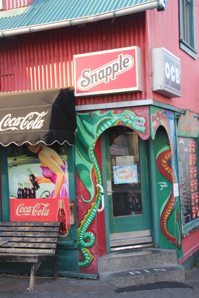 This corner store with two dragons. It's not graffiti but I loved the subject matter and the colors.