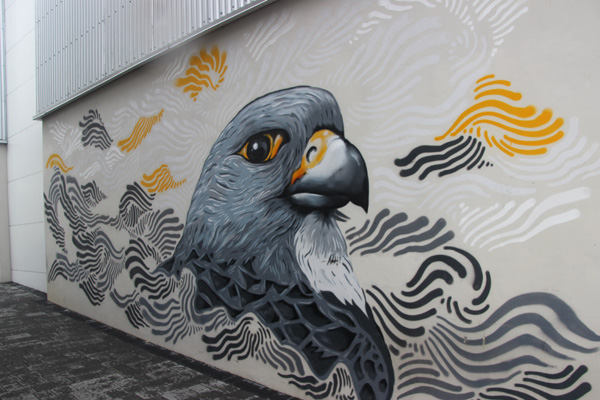 Falcon mural. Don't know if this is a sanctioned mural or a volunteer.