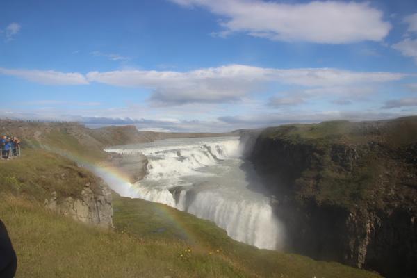Gullfoss with a rainbow.