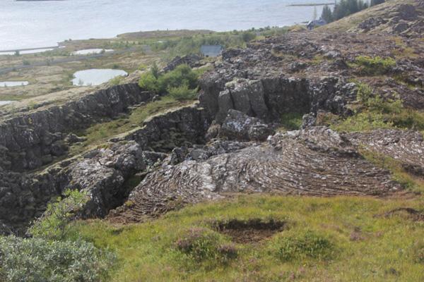 Lava rock and cliffs.