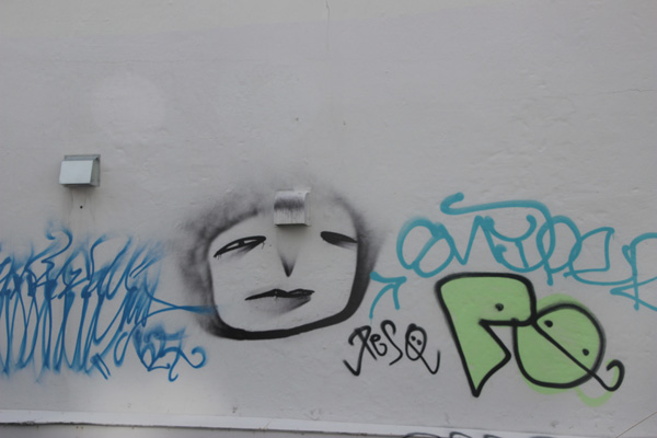 This is clearly tagging, but this face showed up a few places.