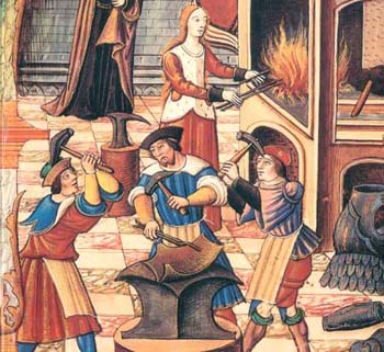 A craft guild. Hey, that's a woman heating up those metal rods. Want to bet.she's not a member?