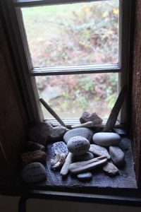 Window sill mementos.