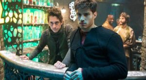 "(l) Kem ""Can't afford a last name"" the Bartender and Seg ""I'm good at Brooding"" El (Rasmus Hardiker and Cameron Cuffe.) Photo from Comicbook.com"