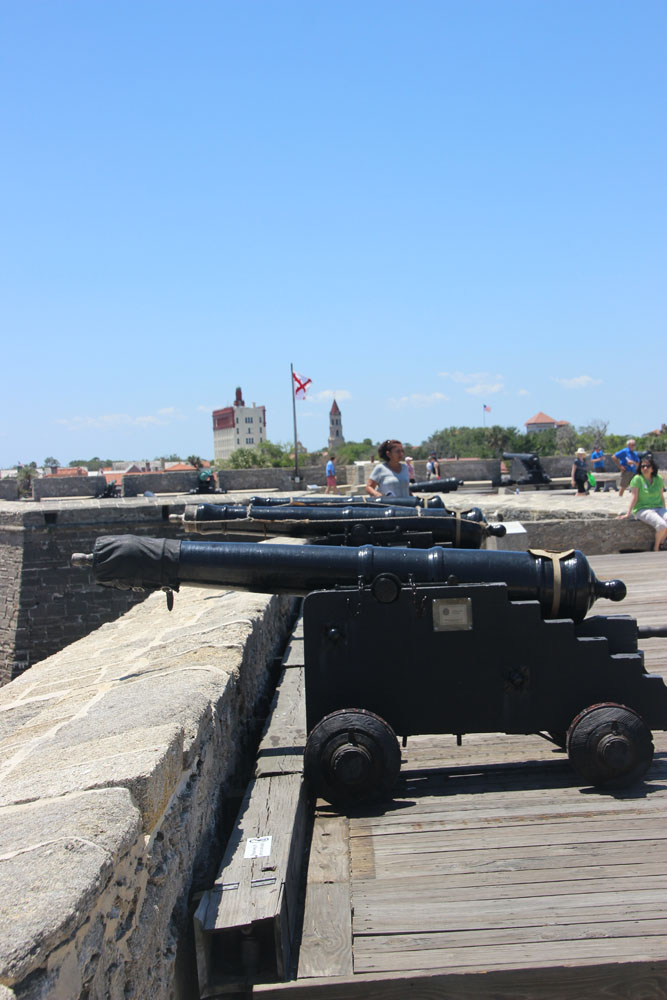 Row of cannon facing northeast.