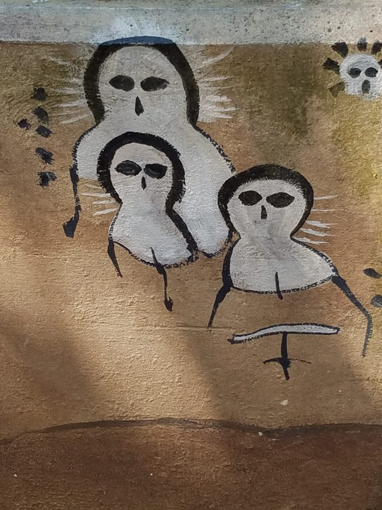 I don't think this is official park artwork. Are they birds? Or the spirits of bipedal mammals who didn't move fast enough?