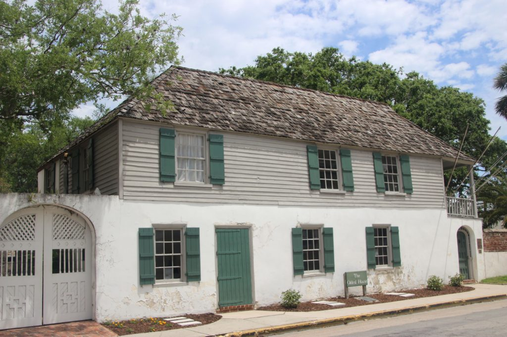 Exterior of The Oldest House. The green door would have been added during the British occupation period, since the original entrance would be have been through the courtyard.