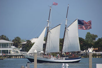 The Schooner Freedom under full sail.