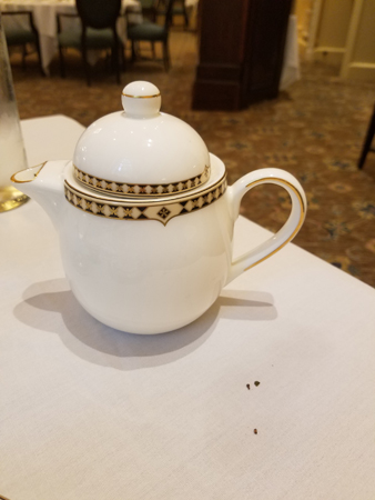 The server filled my teapot with loose leaves and hot water.