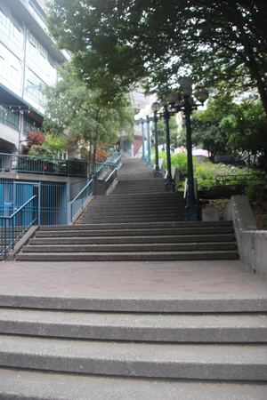 The stairs from Alaska Way up to Pike Place.