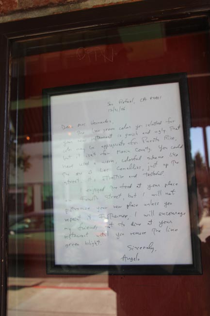 Angelo's letter --quintessentially Marin County.