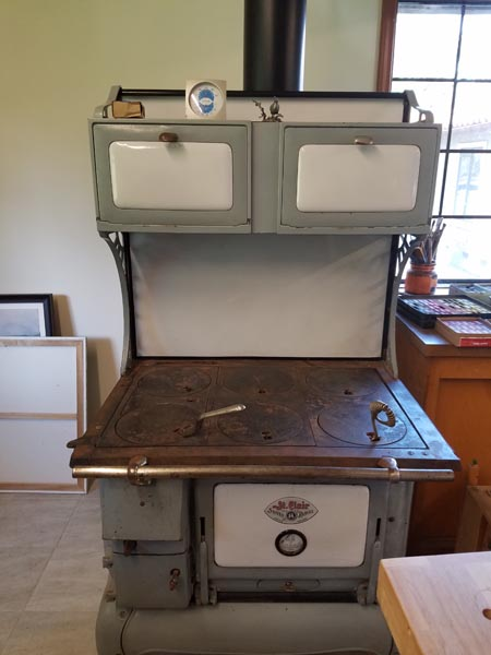 This old stove heats Teri Sloat's studio.