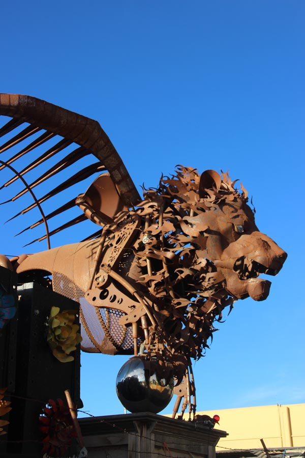 The winged lion, one of a pair that guards the corp yard.