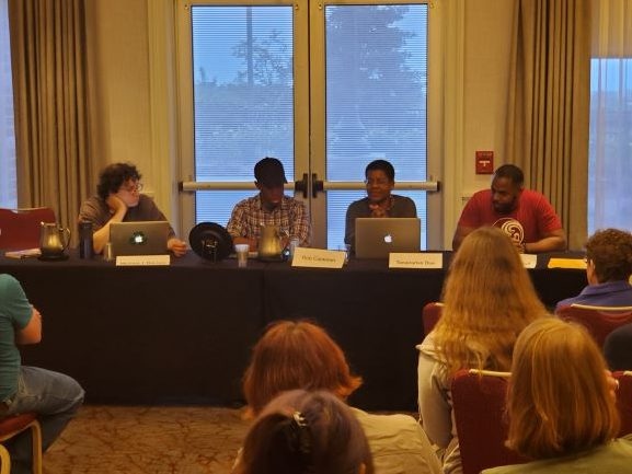 Michael J De Luca, Rob Cameron, Tananarive Due, Cadwell Turnbull (l to r) discuss solarpunk and afrofuturism.