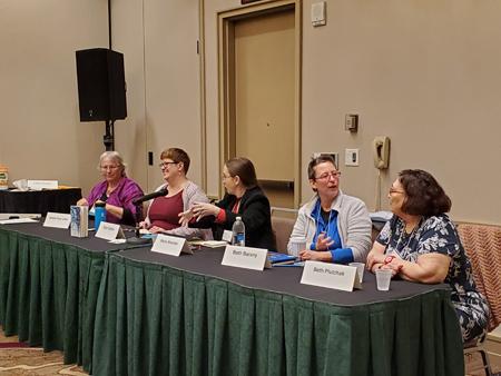 (l to r) Heather Rose Johnson, Vylar Kaftan (m), Marie Brenan, Beth Barany, Beth Plutchak