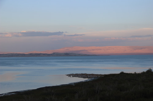 Looking south at Mono Lake at sunset