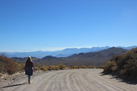 Linda in a downhill landscape