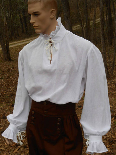 Male Mannequin in a white poet shirt that laces up the front.