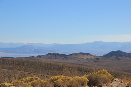 Southwest view downhill with Mono Lake visible in middle left.